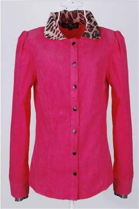 Baju Murah Wanita Monel Pink Kemeja baju kemeja wanita motif leopard terbaru model terbaru jual murah import kerja
