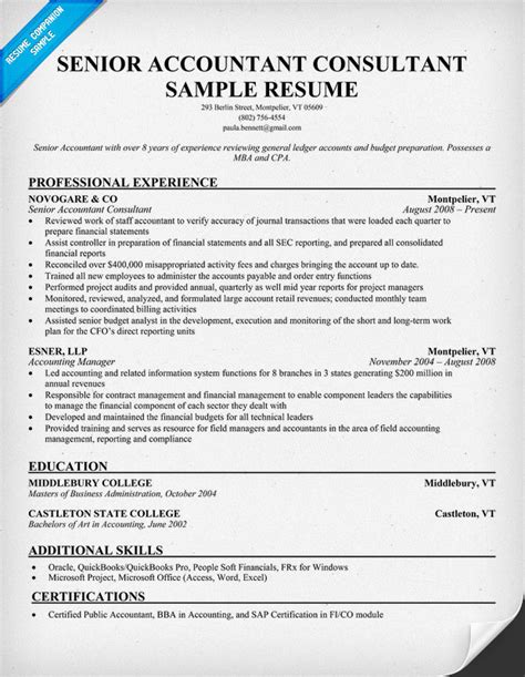 senior accountant consultant resume sles across all industries sle resume