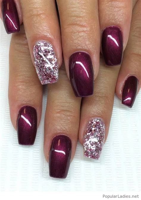 burgundy nail color shining burgundy gel nails