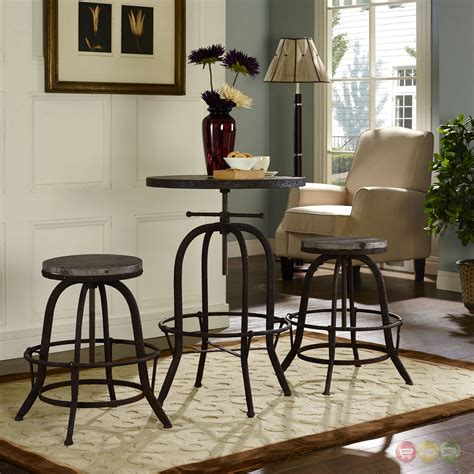 modern industrial dining set gather industrial modern 3pc dining set w wood top and