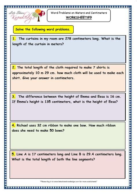 11 to meters grade 3 maths worksheets 11 9 word problems on meters