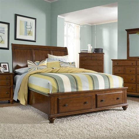 Broyhill Hayden Place Sleigh Storage Bed In Light Cherry Broyhill Bed