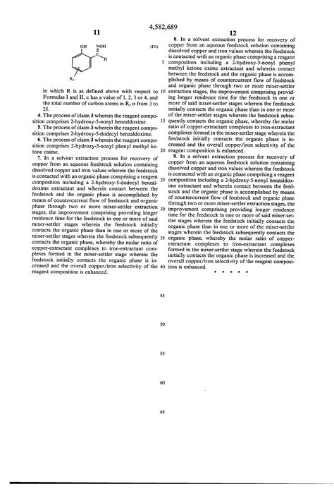 Patent US4582689 - Solvent extraction process - Google