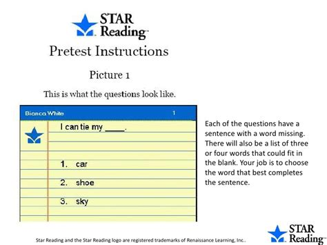 reading training missing star reading pre test instructions