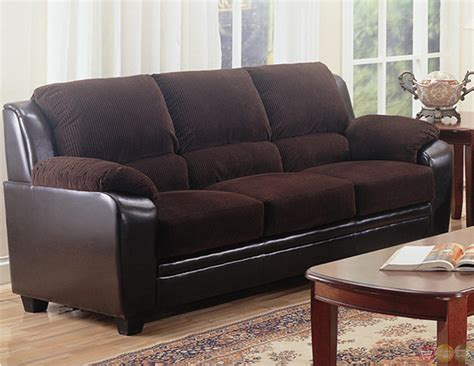 Corduroy Sofa And Loveseat Monika Two Toned Brown Corduroy Casual Living Room