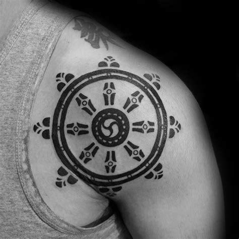 dharma wheel tattoo 40 dharma wheel designs for dharmachakra ink