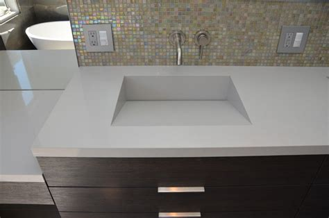 Integrated Bathroom Sink And Countertop by Quartz Integrated Sinks Modern Vanity Tops And Side
