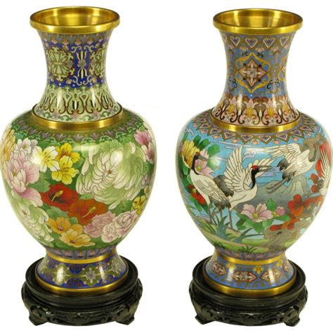 Earth Contact Home Designs Pair Colorful Chinese Cloisonne Vases At 1stdibs