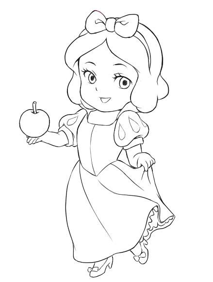 Chibi Snow White Chibi Snow White Lines Chibi Snow Coloring Pages Of Baby Princesses