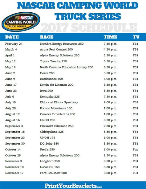 truck racing schedule 25 best ideas about nascar race schedule on