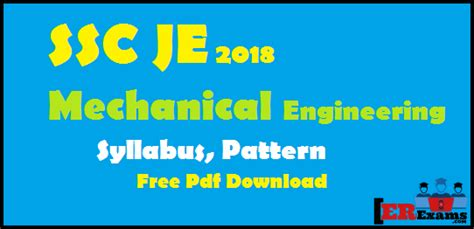 staff pattern in engineering college ssc je 2018 mechanical engineering syllabus pattern