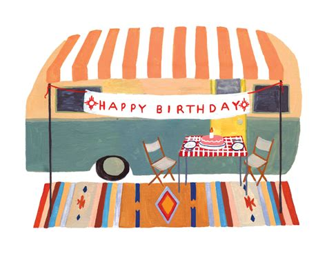 Motorhome Birthday Cards Cer Trailer Birthday Card By Smalladventure On Etsy