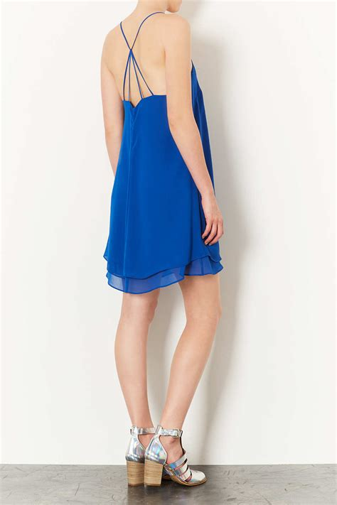 swing slip dress topshop chiffon swing slip dress in blue lyst