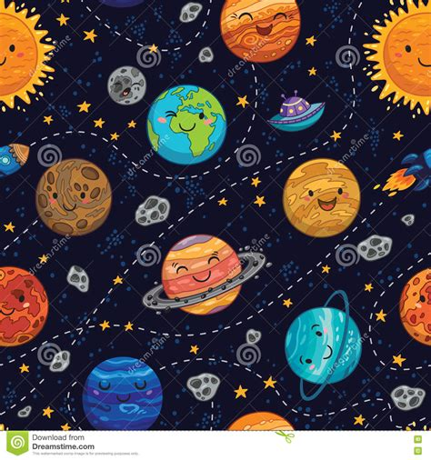 background pattern space seamless space pattern background with planets stars and