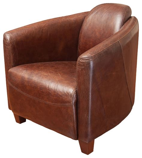 armchair club rocket brown top grain leather club chair midcentury