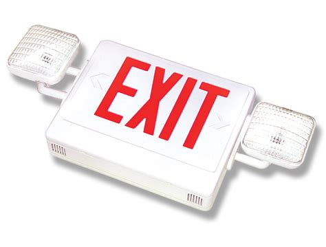 combination emergency exit sign and light with battery backup 120v combination exit signs emergency lighting