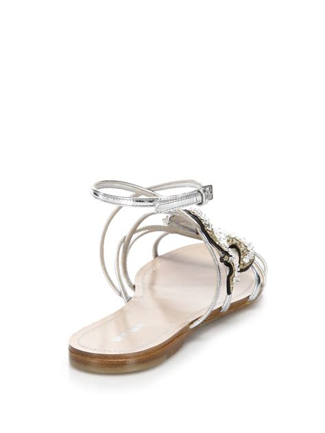 Sandal Flat Miu Miu miu miu swallows flat sandals in metallic lyst