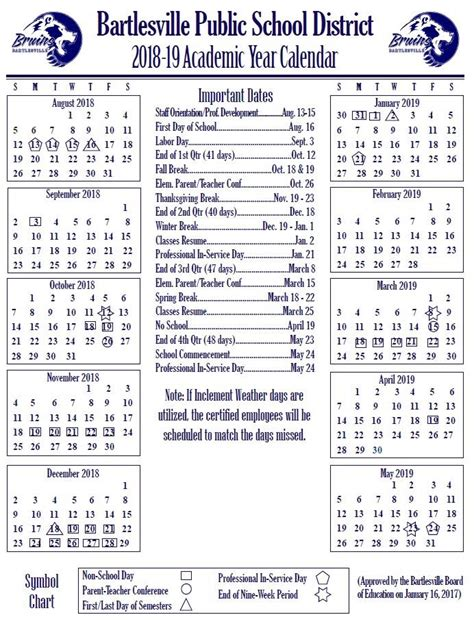 Bps Calendar Academic Year Calendars Bartlesville Schools
