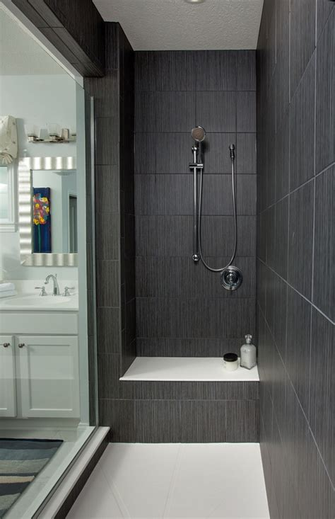 Dark Gray Large Shower Tiles Walk In Shower Ideas Glass Grey Tile Bathroom Designs