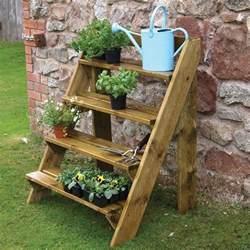 grange wooden steps garden plant pot stand gardener