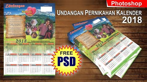 Undangan Pernikahan Blangko R 010 desain undangan model kalender 2018 di photoshop tutorial photoshop
