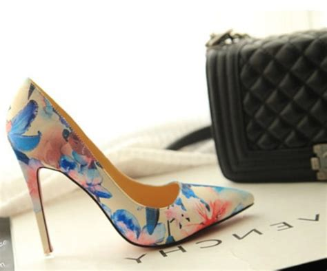 flower pattern shoes shoes high heels sexy heels pumps court shoes flower