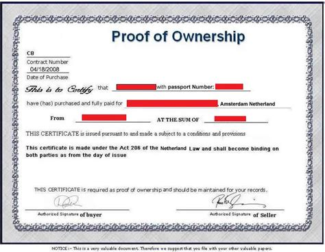 certification letter for ownership apartment black