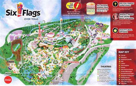 six flags texas park map six flags texas 2015 park map