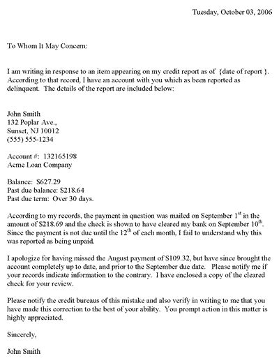 credit repair letter templates redit dispute letter template credit dispute letter