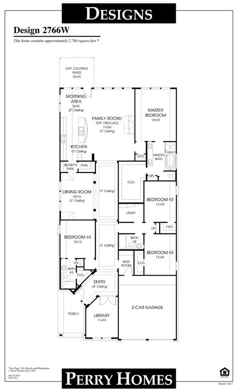 perry homes floor plan for 2766w floor plan ideas