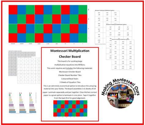 printable montessori multiplication board making montessori ours education printables montessori