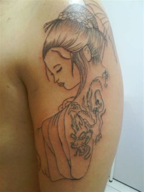 geisha geisha design on left shoulder