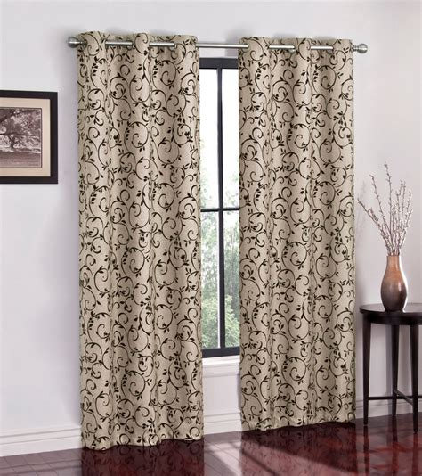 jaclyn smith curtains drapes jaclyn smith 40 quot flocked scroll grommet panel home
