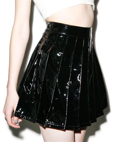 lip service spiked vinyl trench lip service vinyl vixen pleated skirt skirt skater