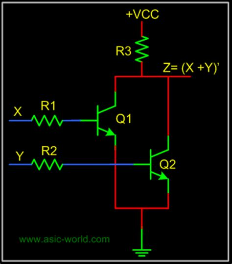 resistor transistor logic nor gate resistor transistor logic diagram