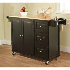 kitchen island overstock simple living black natural aspen 3 drawer kitchen cart