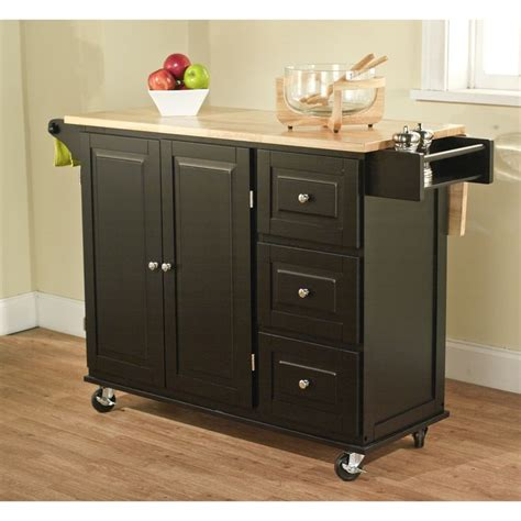 kitchen island overstock simple living black aspen 3 drawer kitchen cart