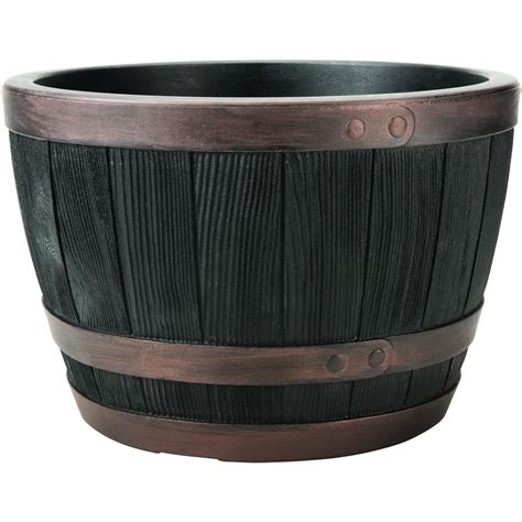 Half Oak Barrel Planter by Blenheim Black Oak Copper Effect Half Barrel Planter
