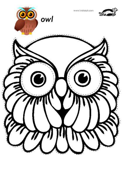printable owl face mask krokotak print printables for kids μασκεσ αποκριεσ
