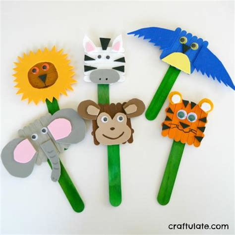 How To Make Animal Puppets For With Paper - popsicle stick animal puppets allfreekidscrafts