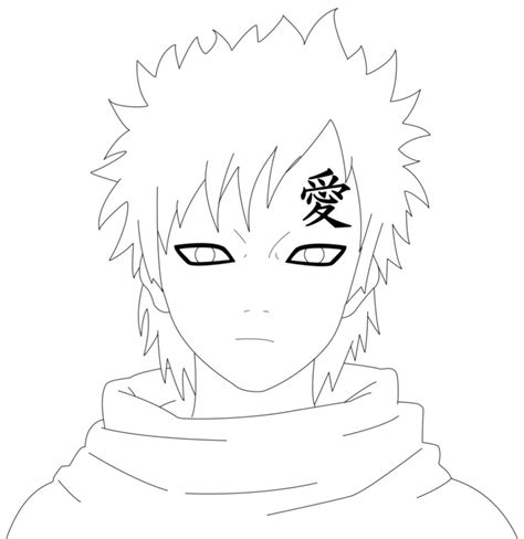 naruto gaara coloring pages gaara lineart nw project by cruzerblade on deviantart