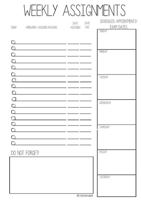 printable exam planner dropbox weeklyassigna52 jpg college organization