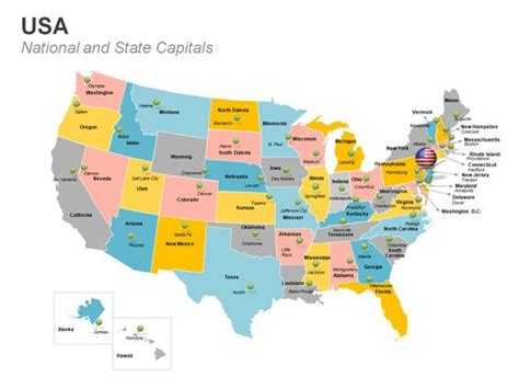 usa map states capitals and major cities usa map editable powerpoint template this deck of 61