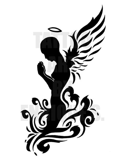 tribal angel tattoo the praying 1 by theartistenrique on deviantart