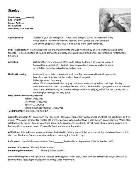 Rental Reference Letter For Pets Apartment Renting Create A Pet Resume Etc Pets Resume And A