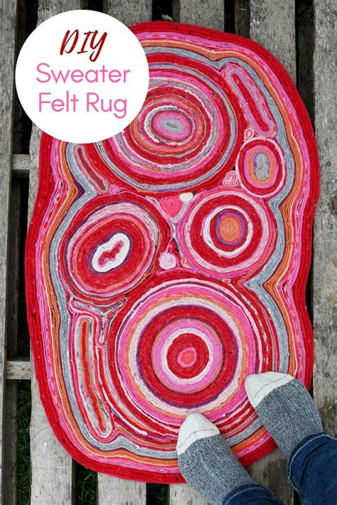 make felt rug how to make a felt rug out of recycled sweaters pillar box blue