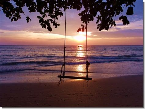 sunset swings koh chang lonely beach swing sunset sunset prints by