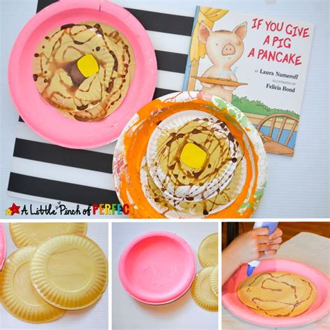 Butter Paper Craft - pancake paper plate craft inspired by if you give a pig a