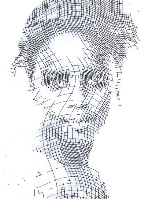 crosshatched ink portrait stencils