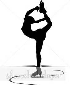 ice skater spinning in silhouette winter clipart